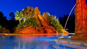 The gorgeous main pool with a cascading pyramid transporting you to Mayan times in Mexico