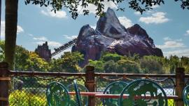 Such a great view of Expedition Everest from the water front seating at Flametree Barbecue