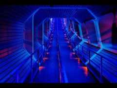 The Star Tunnel in the queue for Space Mountain takes you beneath the Walt Disney World Railroad tracks!