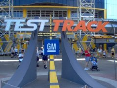 Original Test Track signage in front of the pavilion