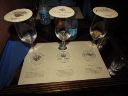 The three different tequilas!! From left to right, Blanco, Respado, Anejo