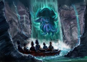 Concept art for the new Davy Jones waterfall