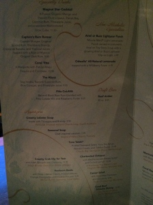 Some of the specialty drinks and appetizers