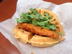 The Sweet and Spicy Chicken Waffle Sandwich at Sleepy Hollow is a delicious and unique eat at the Magic Kingdom but make sure you're there at lunch time they aren't served all day!